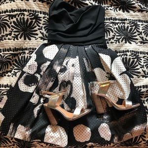 Black and white floral cocktail dress